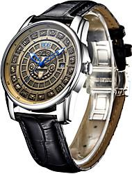AngelaBOS Hombre Reloj de Vestir Reloj de Moda El reloj mecánico Cuerda Automática Luminoso Piel Banda Cool Casual Negro Marrón