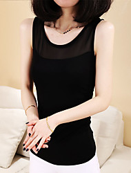 Women's Casual/Daily /Street chic Summer Tank Top,Solid Round Neck Sleeveless White / Black Modal Thin