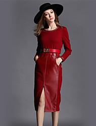 BOMOVO® Women's Round Neck Long Sleeve Tea-length Dress-B16CQC4