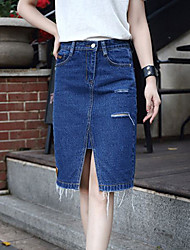 Women's Solid Blue Skirts,Simple Knee-length