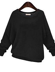 Damen Standard Pullover-Lässig/Alltäglich Übergröße Einfach Solide Schwarz Rundhalsausschnitt ¾-Arm Polyester Herbst Mittel