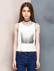Women's Going out Simple Summer Tank Top,Print Round Neck Sleeveless White Cotton / Modal Thin