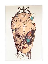 1pc Temporary Women Men Body Art DIY Clock Skull Head Butterfly Flower Arm Tattoo Sticker Design HB-036