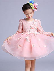 A-line Knee-length Flower Girl Dress - Cotton / Lace / Organza Long Sleeve Jewel with Crystal Detailing / Flower(s)