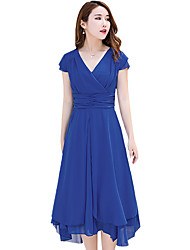 Women's Casual Go out Temperament  Slim Was Thin Solid Pleats Accept Waist Short Sleeve V Neck  Dress
