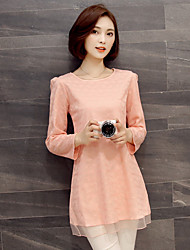 Women's Going out Vintage / Simple / Cute Spring / Fall T-shirt,Solid Round Neck Long Sleeve Pink / Black