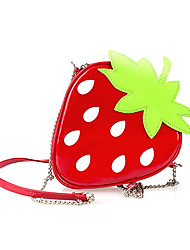 Women PU Casual Shopping Shoulder Bag Key Holder Coin Purse Hobo Strawberry Chain Bags