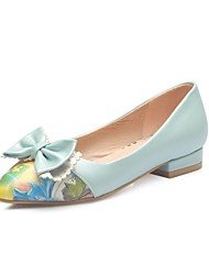 Women's Heels Summer Fall Comfort PU Office & Career Casual Low Heel Bowknot Blue Pink White Others