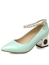 Women's Pointed Closed Toe Kitten Heels Solid Buckle Pumps-Shoes