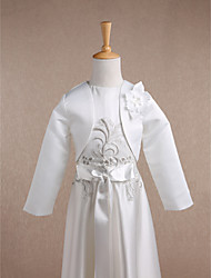 Kids' Wraps Shrugs Long Sleeve Satin Ivory Wedding Party/Evening Scoop 34cm Flower(s) Open Front