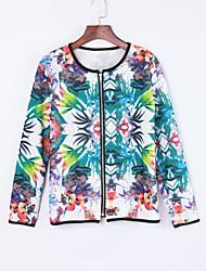 Women's Casual/Daily Coat,Print Long Sleeve Fall White Medium