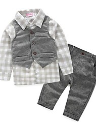 Boy's Casual/Daily Plaid Vest / Clothing SetCotton Spring / Fall Gray