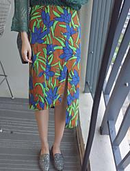 Damen Röcke - Einfach Knielang Baumwolle Unelastisch