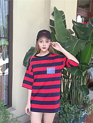 Women's Going out Simple / Cute Summer T-shirt,Striped Round Neck Short Sleeve Red Cotton Medium