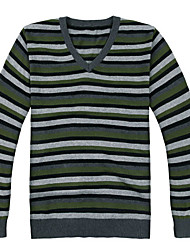 Men's Striped Casual Pullover,Cotton Long Sleeve Green