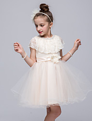 A-line Knee-length Flower Girl Dress - Satin / Tulle / Polyester Sleeveless Jewel with Flower(s) / Ruffles