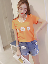 Boutique S Women's Casual/Daily Street chic Summer Set Pant,Print Round Neck Short Sleeve Orange Cotton Thin