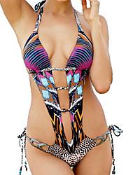 Women's Halter Bikini,Retro / Color Block / Floral / Boho / Sport / Geometric Polyester Multi-color