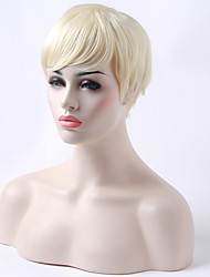 Capless Short Straight White Woman's Wig Synthetic Hair Wigs