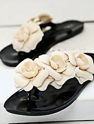 Women's Sandals Spring Summer PVC Casual Flat Heel Flower Black Yellow Green Fuchsia Almond Other