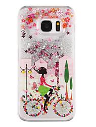 Für Samsung Galaxy S7 Edge Mit Flüssigkeit befüllt / Transparent / Muster Hülle Rückseitenabdeckung Hülle Sexy Lady Hart PC SamsungS7