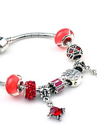 Red DIY Bead Strand Charm Bracelet with Silver Flower Pendant