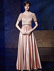 Formal Evening Dress - Elegant A-line Jewel Floor-length Lace Satin with Lace Sequins
