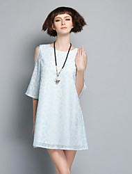 Boutique S Women's Going out Cute,Solid / Geometric Round Neck Above Knee Short Sleeve Blue / White / Gray Linen