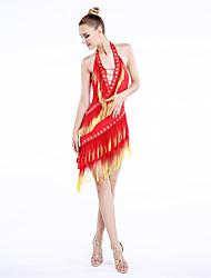 Dança Latina Vestidos Mulheres Actuação Náilon Chinês Veludo Borla(s) 1 Peça Sem Mangas Natural Vestidos