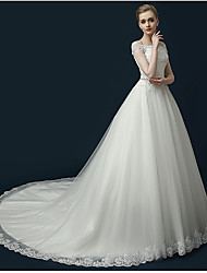 A-line Wedding Dress Court Train Off-the-shoulder Tulle with Appliques / Beading / Ruffle