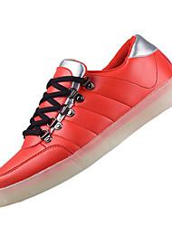 Masculino-Tênis-Conforto Light Up Shoes-Rasteiro-Azul Vermelho-Couro Ecológico-Casual Para Esporte