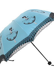 White / Green / Blue / Pink / Purple / Rose Folding Umbrella Sunny and Rainy Textile Lady