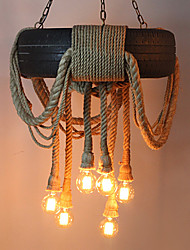 6 Head Vintage Hemp Rope Rubber Tyre Pendant Light Living Room / Bedroom / Dining Room / Study Room/Office / Kids Room