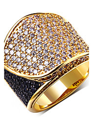 18K Gold Plated Ladies Fashion RingsTop Quality Black & White Cubic Zircon Pave Setting Copper Ring No Lead