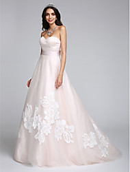 LAN TING BRIDE A-line Wedding Dress Wedding Dress in Color Sweep / Brush Train Sweetheart Tulle with Appliques