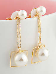 Drop Earrings Fashion Pearl Copper Round Gold Jewelry For Daily Casual 1 pair