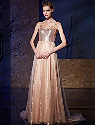 Prom Formal Evening Dress - Sparkle & Shine A-line Bateau Court Train Tulle Sequined with Appliques Sequins