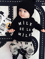 Baby Casual/Daily Print Clothing Set-Cotton-Spring / Fall-Black