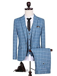 Suits Standard Fit Notch Single Breasted One-button Polyester Checkered 3 Pieces Blue Straight Flapped
