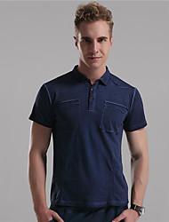 M. D® Hommes Col de Chemise Manche Courtes T-shirt Marron / Bleu royal / Bleu cair-6779