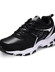 Femme-Extérieure / Décontracté / Sport-Gris / Noir et rouge / Bleu royal-Talon Plat-Confort-Sneakers-Cuir / Tulle
