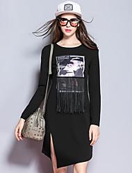 mulheres Sybel de sair vestido / turno, em torno do pescoço patchwork acima blackpolyester joelho manga longa /