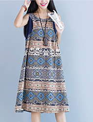 Women's Vintage Print Loose Dress,Round Neck Midi Linen
