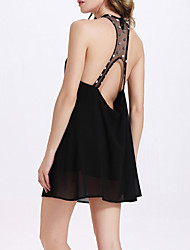 Women's Going out / Casual/Daily Sexy / Simple / Street chic A Line / Little Black / Chiffon Dress, Black