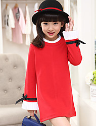 Girl's Cotton  Spring/Autumn Round Neck Bowknot Is The Cuff Long Sleeve Long T-Shirt Dress