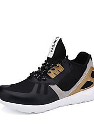 Masculino-TênisRasteiro-Cinza Preto e Dourado Preto e Branco-Tecido-Casual Para Esporte