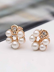 Women Alloy Golden Pearl Circle Clip Earrings
