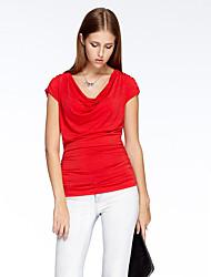 Damen Standard Strickjacke-Lässig/Alltäglich Einfach Solide Rot Kapuze Kurzarm Polyester Elasthan Sommer Dünn Mikro-elastisch