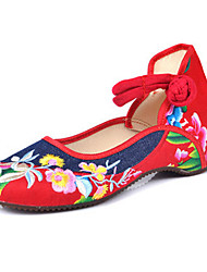 Women's Shoes Canvas Spring / Summer / Fall Mary Jane / Comfort Flats Casual Flat Heel Buckle / Flower Blue Walking