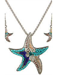 Women's Fashion Daily Casual Personality Party Jewelry Sets Alloy Seed Bead Starfish Necklace Drop Earrings All Seasons